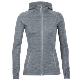 Icebreaker Quantum LS Zip Hood Jacket Women gritstone heather